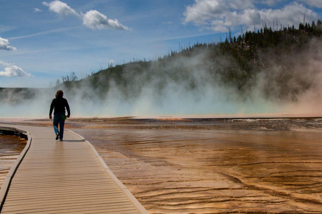 Holzstege führen über die thermisch aktiven Flächen