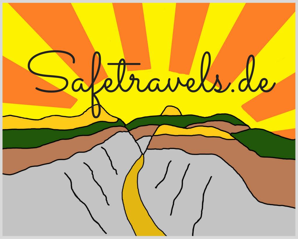 Safetravels.de Logo 500 x 400 mm rechteckig