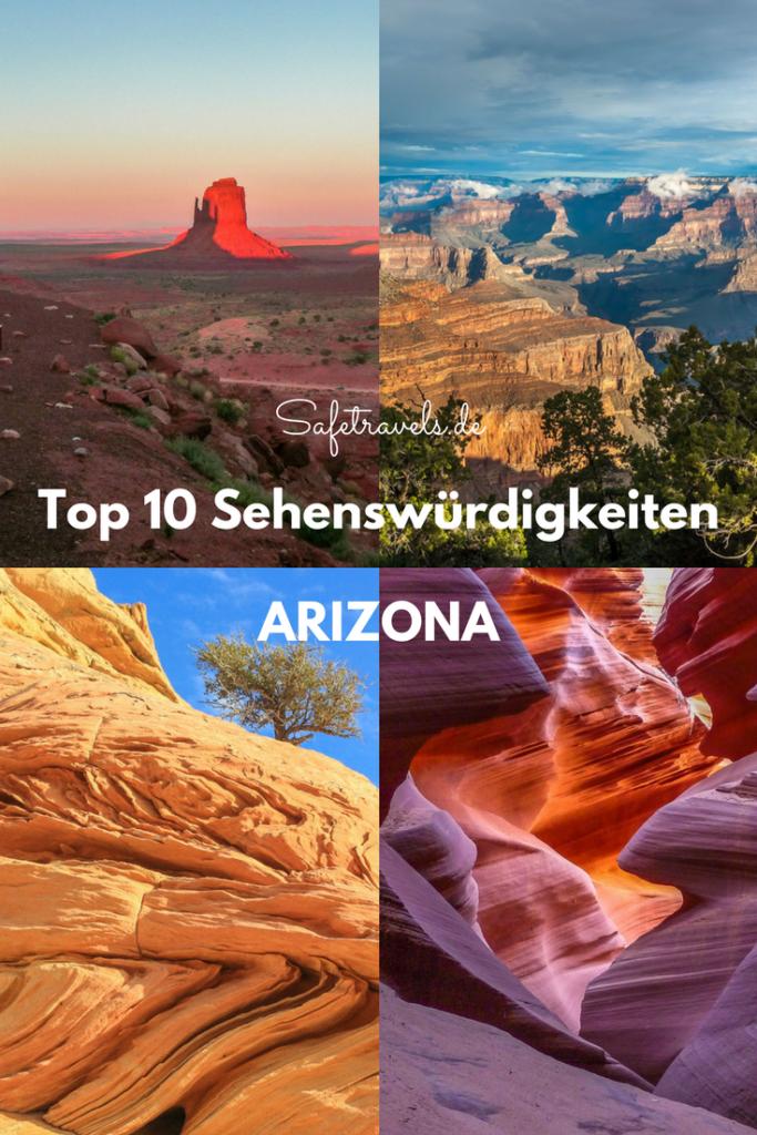 Top 10 Sehenswürdigkeiten Arizona Pin