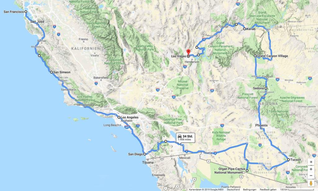 Route USA 2019 Küste und Wüste