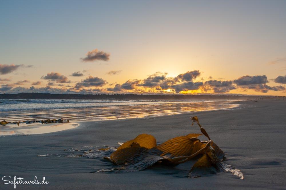 Spaziergänger am Coronado Beach zum Sonnenuntergang