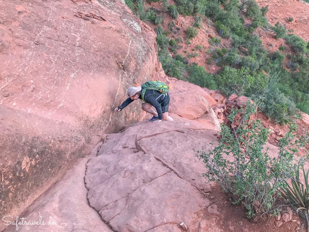 Cathedral Rock Trail - Kletterpartie an der steilsten Stelle