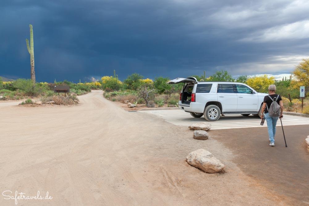 Saguaro National Park - gerade noch rechtzeitig zurück am Auto
