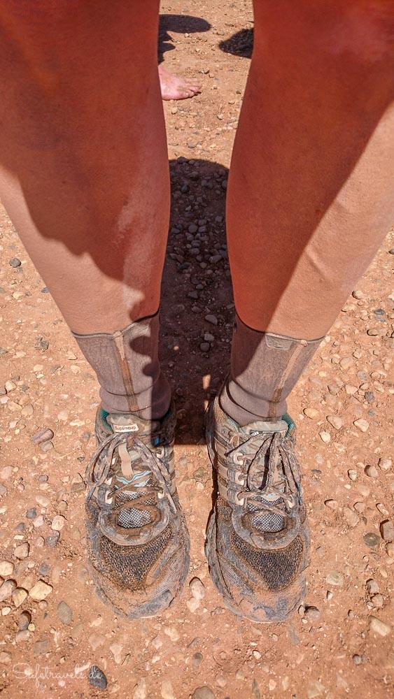 Buckskin Gulch Wanderung - rote Kruste an den Beinen