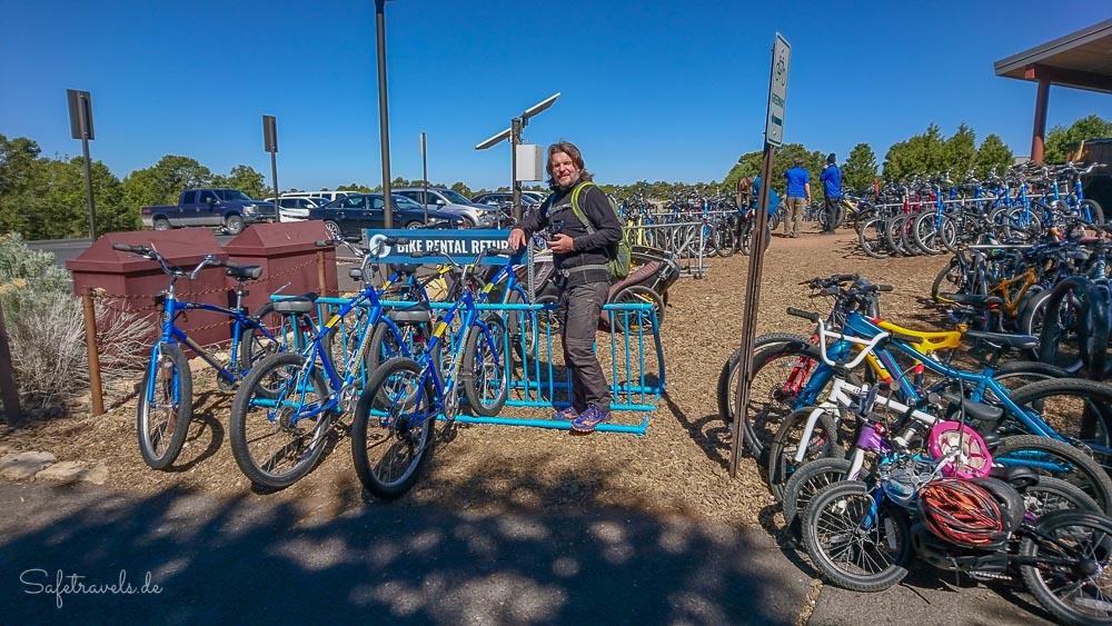 Grand Canyon South Rim - Fahrradverleih - Rückgabe unserer Fahrräder