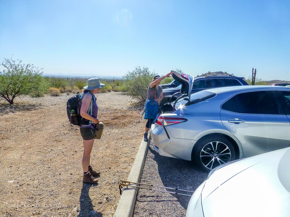 Am Trailhead zum Mesquite Canyon Trail