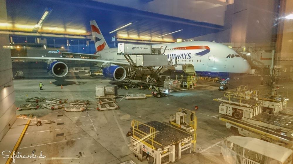 Bereit für den Flug von Los Angeles nach London