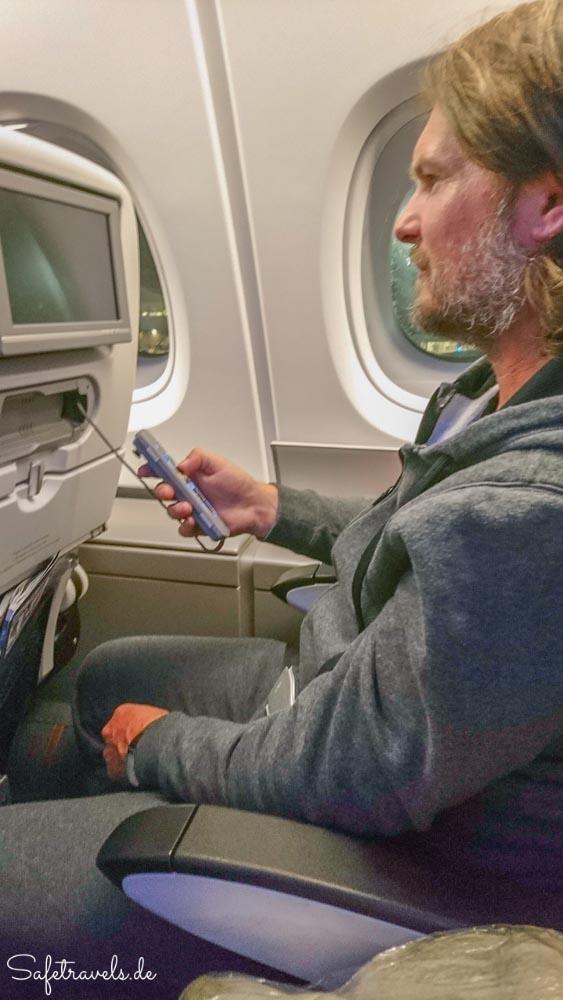 Zweierreihe auf dem Flug von Los Angeles nach London