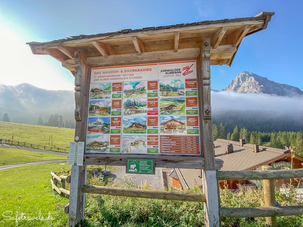 Ausgangspunkt für viele Wanderungen auf der Rückseite der Zugspitze - Ehrwalder Alm