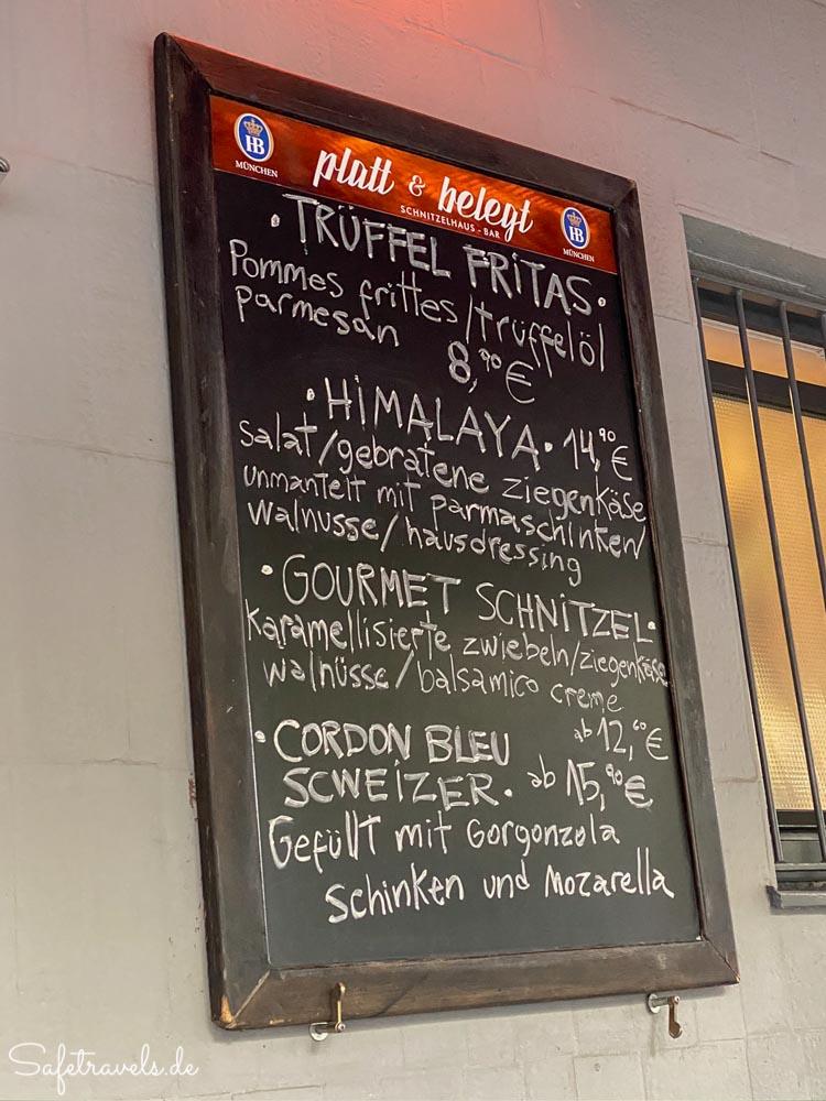 Speisekarte platt und belegt in München