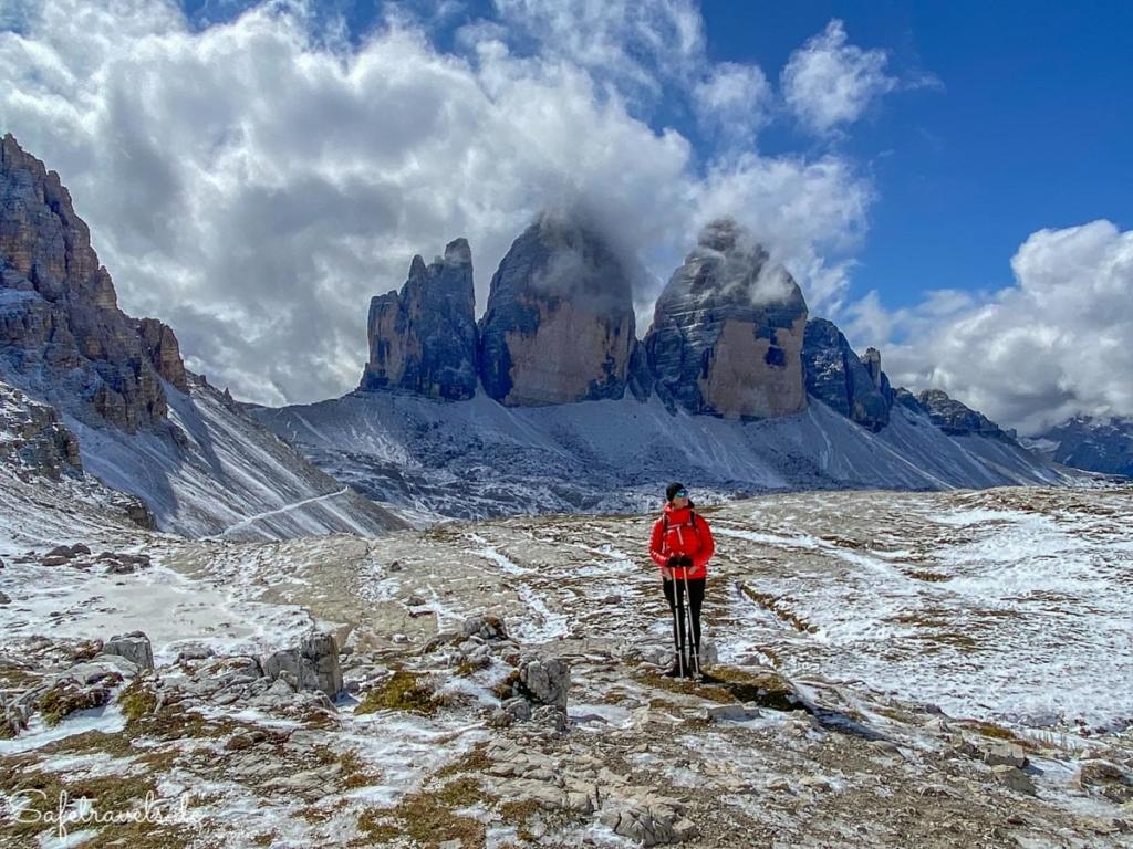 An den Drei Zinnen im Schnee - Dolomiten