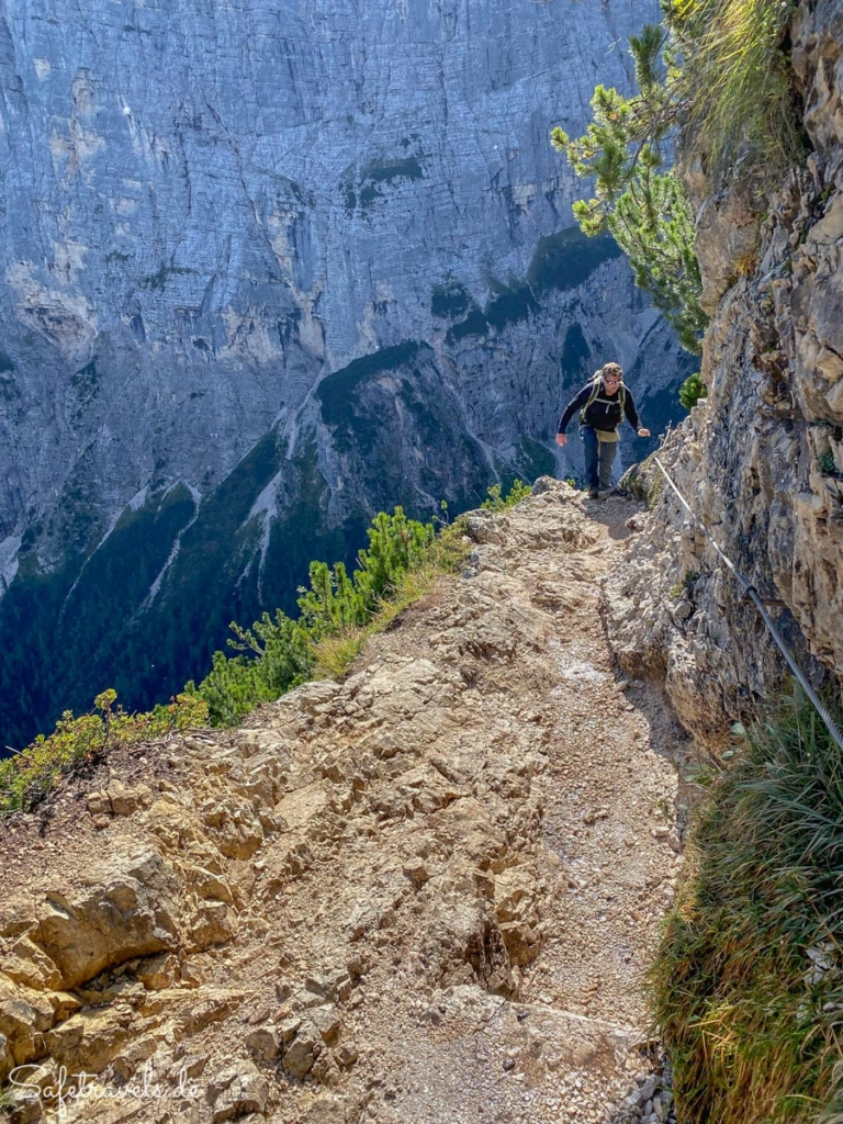 Seilversicherte Passage 2 - Wanderweg Sorapis See